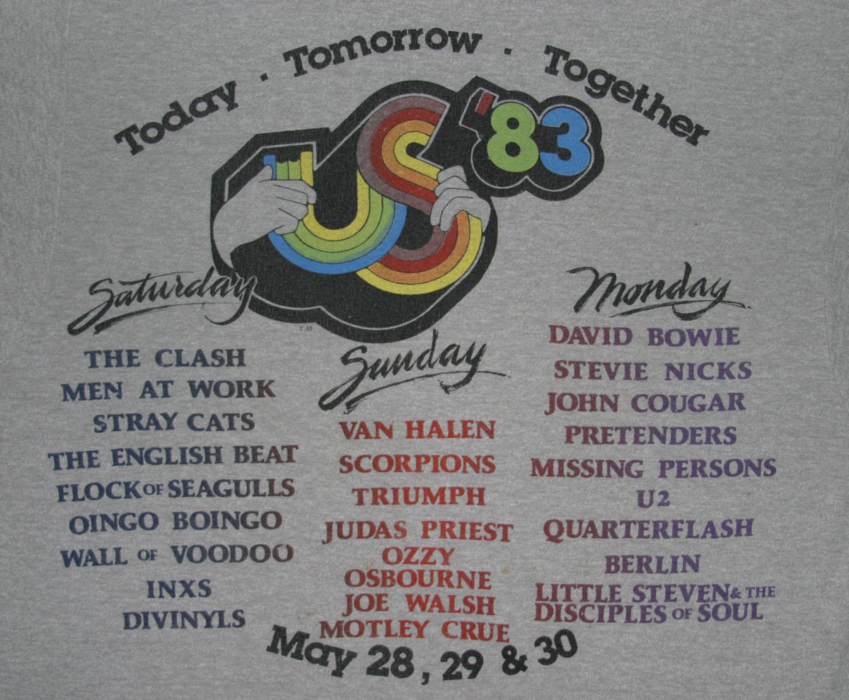 This day in music history 1983 s us festival begins u2 the