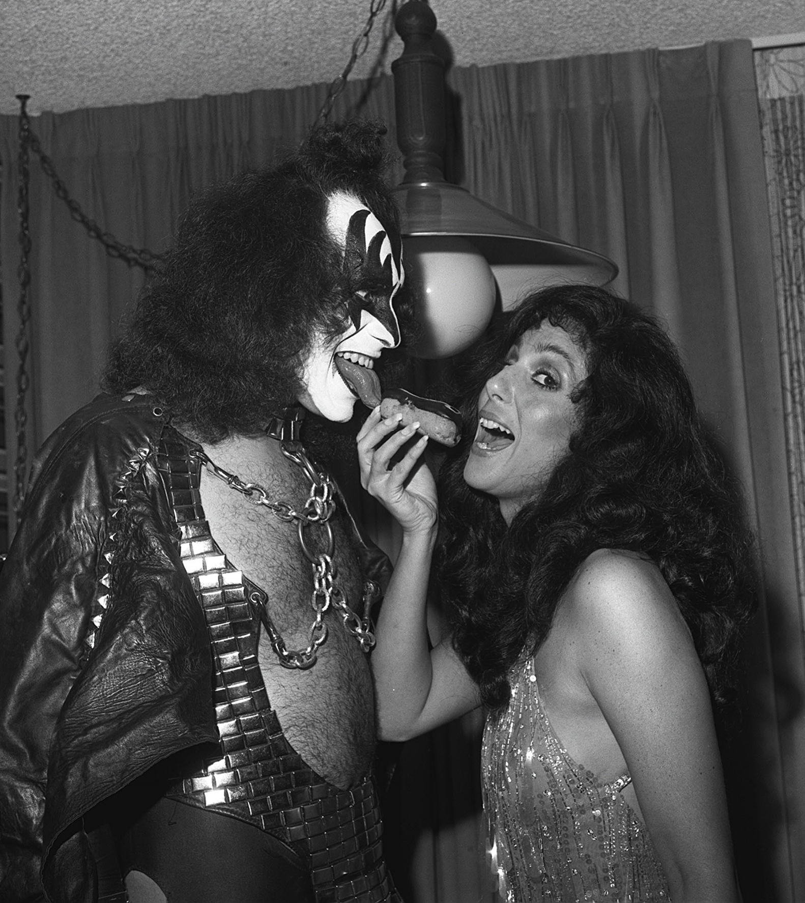 Classic Photo: Gene Simmons & Cher with an Eclair | Sonic