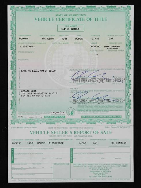Check Out The Vehicle Title For Kurt Cobain S 1965 Dodge