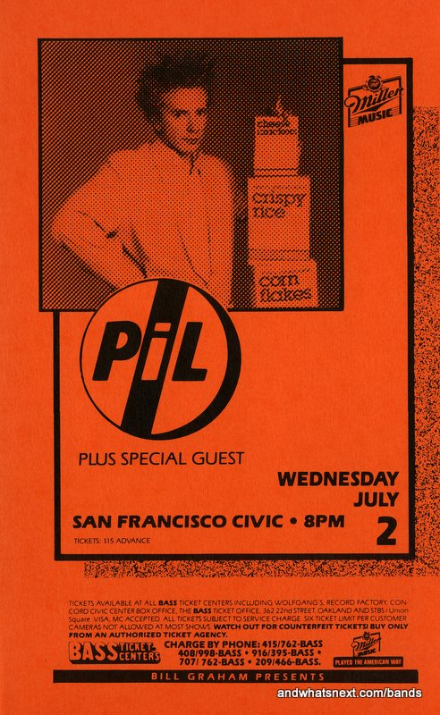 Vintage Pil Concert Flyer From   Sonic More Music