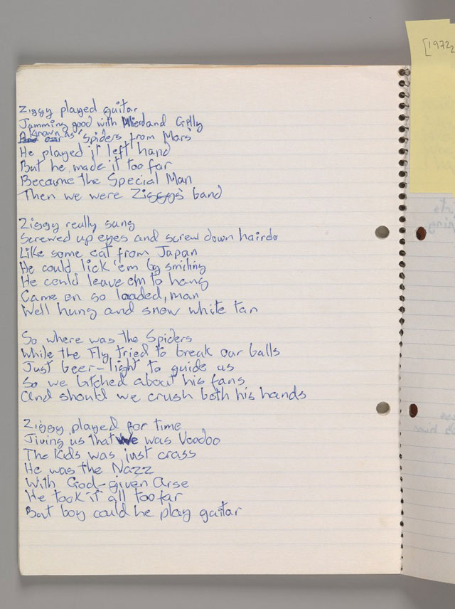 Bowie-lyrics-notebook