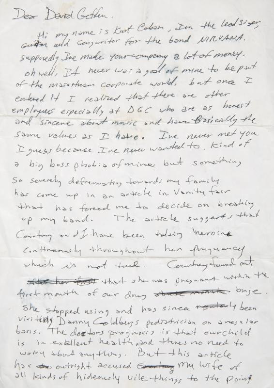 Handwritten letter by Kurt Cobain of Nirvana to David Geffen